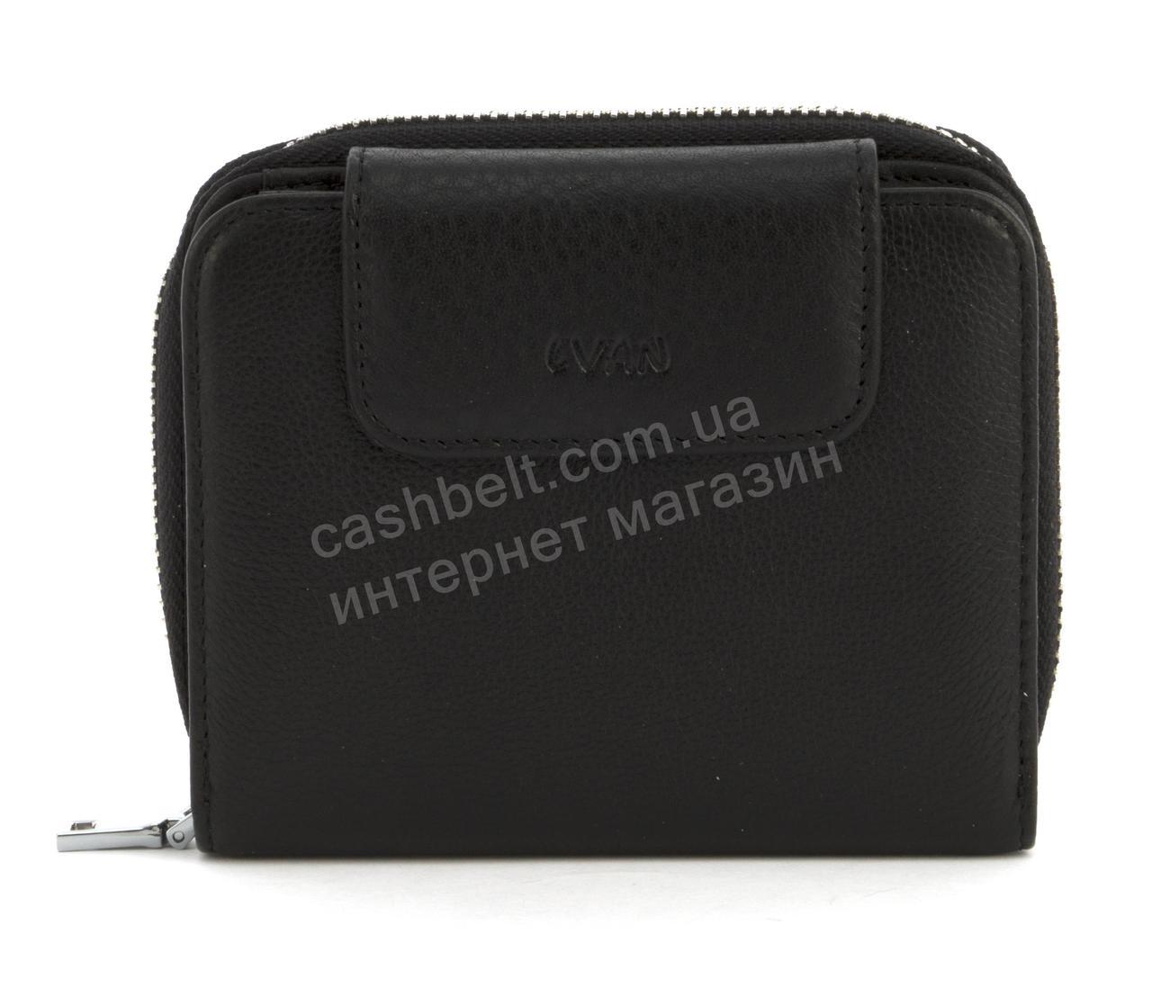 Небольшой кожаный женский кошелек с мягкой кожи LVAN art. 08-224 черный