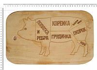 Доска сувенирная с выжиганием схемы разруба свинины 22х37 см.