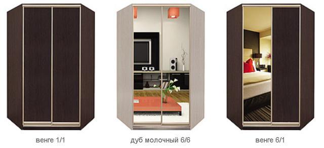 Угловые шкафы-купе с фасадами из ДСП и зеркала