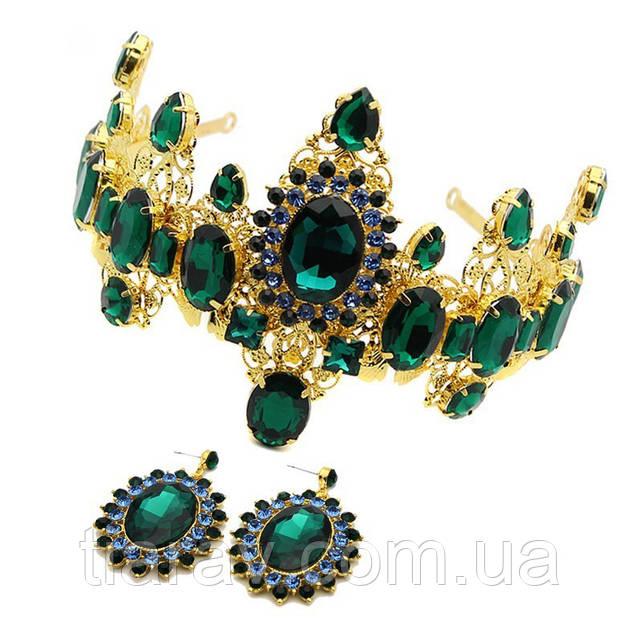 Корона с зелеными камнями и серьги набор ВЕЛЛА модные украшения для волос