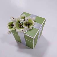 """Коробочка для весільного подарунку/грошей 100*100*100 мм. """"НІЖНА ЗЕЛЕНЬ"""", фото 1"""