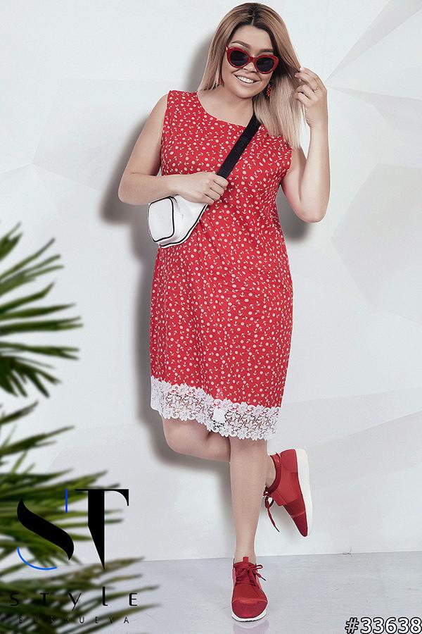 Платье больших размеров 48+с принтом, украшено кружевом / 2 цвета  арт 5453-8
