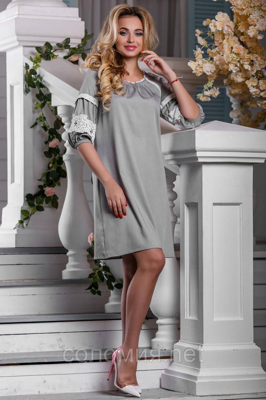 Платье с элементами декоративной отделки из льняного кружева 44-50р ... 04f05b24e84
