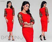 Платье с рукавами сетка -вышивка в расцветках  1510, фото 1