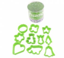 Набор из 10 пластиковых мини-формочек для вырезания печенья Fissman