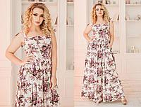 """Длинное летнее платье-сарафан на завязках """"Букет"""" с цветочным принтом (большие размеры)"""