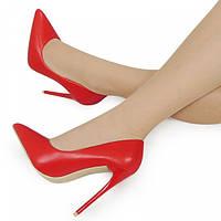 Красные женские очень удобные туфли на каблуке, фото 1
