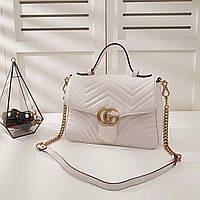 e74501a06c9a Gucci GG Marmont кожаная сумка с верхней ручкой белая. 12925 UAH. 12 925 грн .