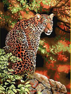 """Алмазная мозаика 56х42см - набор """"Огненный леопард"""""""