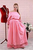 Платье Дюна розовое большого размера 48-94 батал
