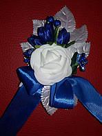 Свадебная синяя бутоньерка (Ц-б-НМ-син-2)