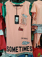Туника для девочки на 10-15 лет персикового цвета с надписью рванка оптом