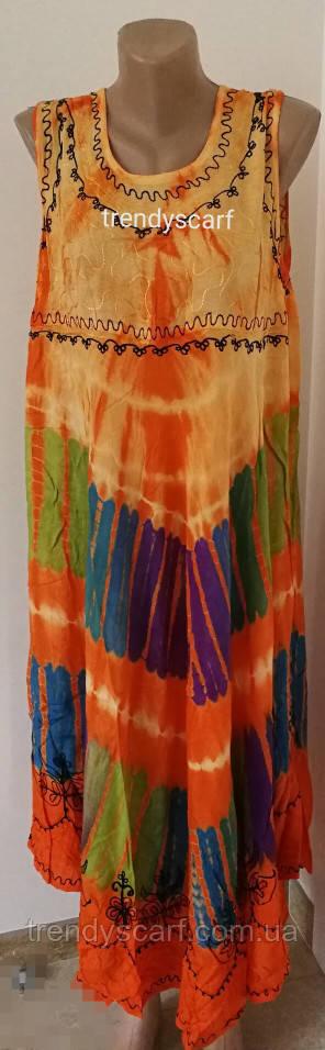 Женская летняя туника, сарафан Ламбада.Оранжевый, фиолетовый, голубой, сзеленый, салатовый. Вискоза. Индия