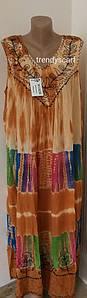 Женская летняя туника, сарафан Ламбада. Бежевый, синий, розовый, синий, зеленый.Вышивка. Вискоза. Индия