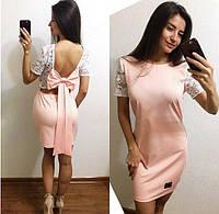Платье красивое с кружевом и вырезом на спине и бантом  Sma2397