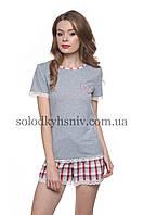 Жіноча Піжама ELLEN шорти+футболка Червона Клітинка батист 154 001 8bbe069210ecf