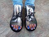 Стильные кожаные босоножки металик Terra Grande, фото 6
