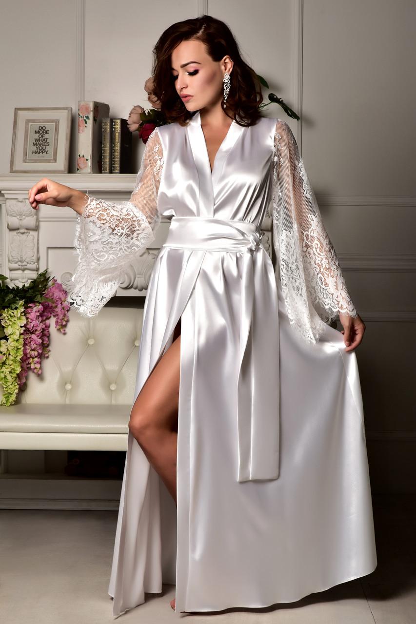 Длинный атласный халат в пол с кружевным рукавом для невесты Белый