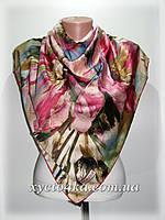Шёлковый платок абстракция, розовый