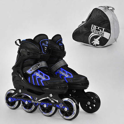 "Ролики 9015 ""L"" Blue - Best Roller /размер 39-42/ (6) колёса PU, без света, d=9см, фото 2"