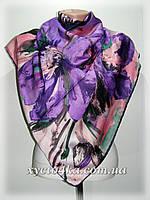 Шёлковый платок абстракция, сиреневый