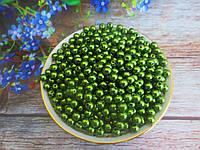 Бусины перламутровые под жемчуг, 6 мм, цвет зеленый, 10 грамм, (~100 шт).