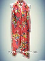 Турецкие шифоновые палантины цветы, кораловый