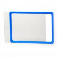 Рамка пластиковая ценникодержатель б/у формата A6 синяя информационная табличка