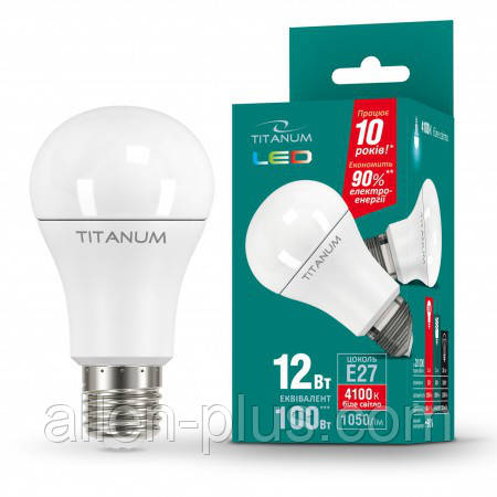 LED лампа TITANUM A60 12W E27 4100K 220V (гарантия 1 год)