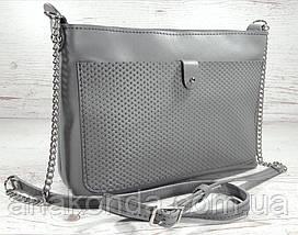 2c90934691ae 21-2 Натуральная кожа, Сумка-клатч, серый с тиснением рогожка, фото