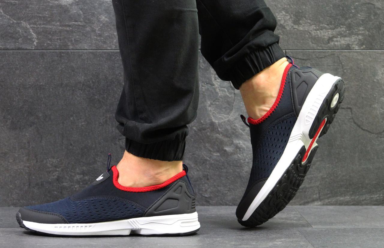Кроссовки мужские летние Adidas (реплика ) без шнурков темно синие с белым ( сетка) 26e3c9a0af2