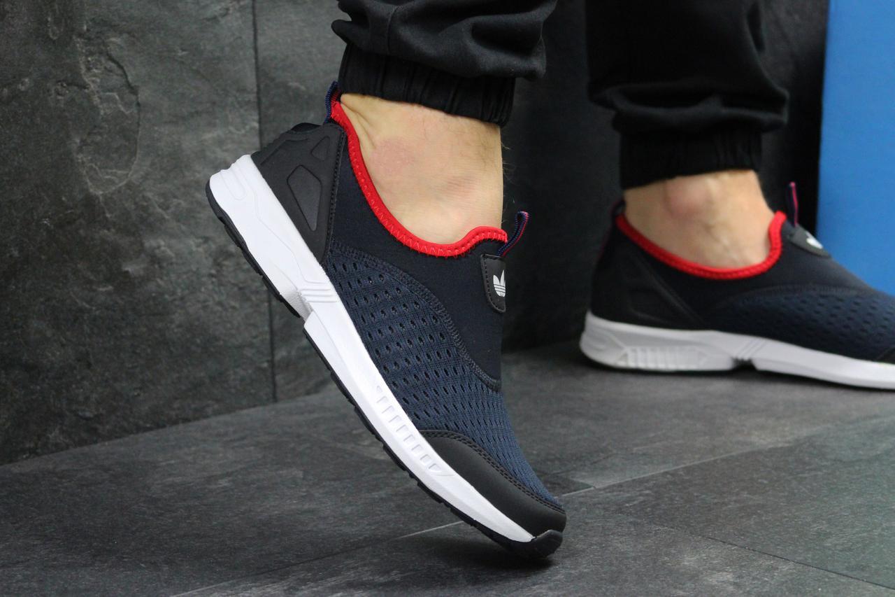 ... Кроссовки мужские летние Adidas (реплика ) без шнурков темно синие с  белым (сетка) ... b2e3c4d4e6c