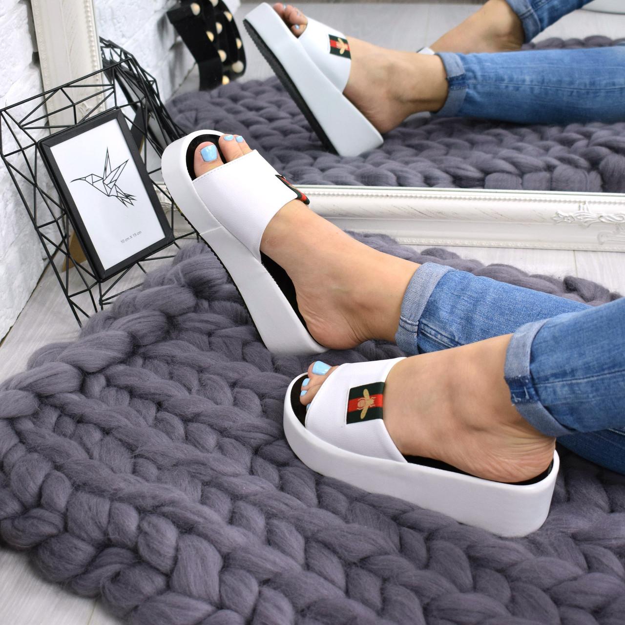 """Шлепки, тапки, сланцы, белые """"Shaeret"""" эко кожа,  обувь летняя, повседневная обувь шлепки женские"""