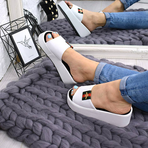 """Шлепки, тапки, сланцы, белые """"Shaeret"""" эко кожа,  обувь летняя, повседневная обувь шлепки женские, фото 2"""