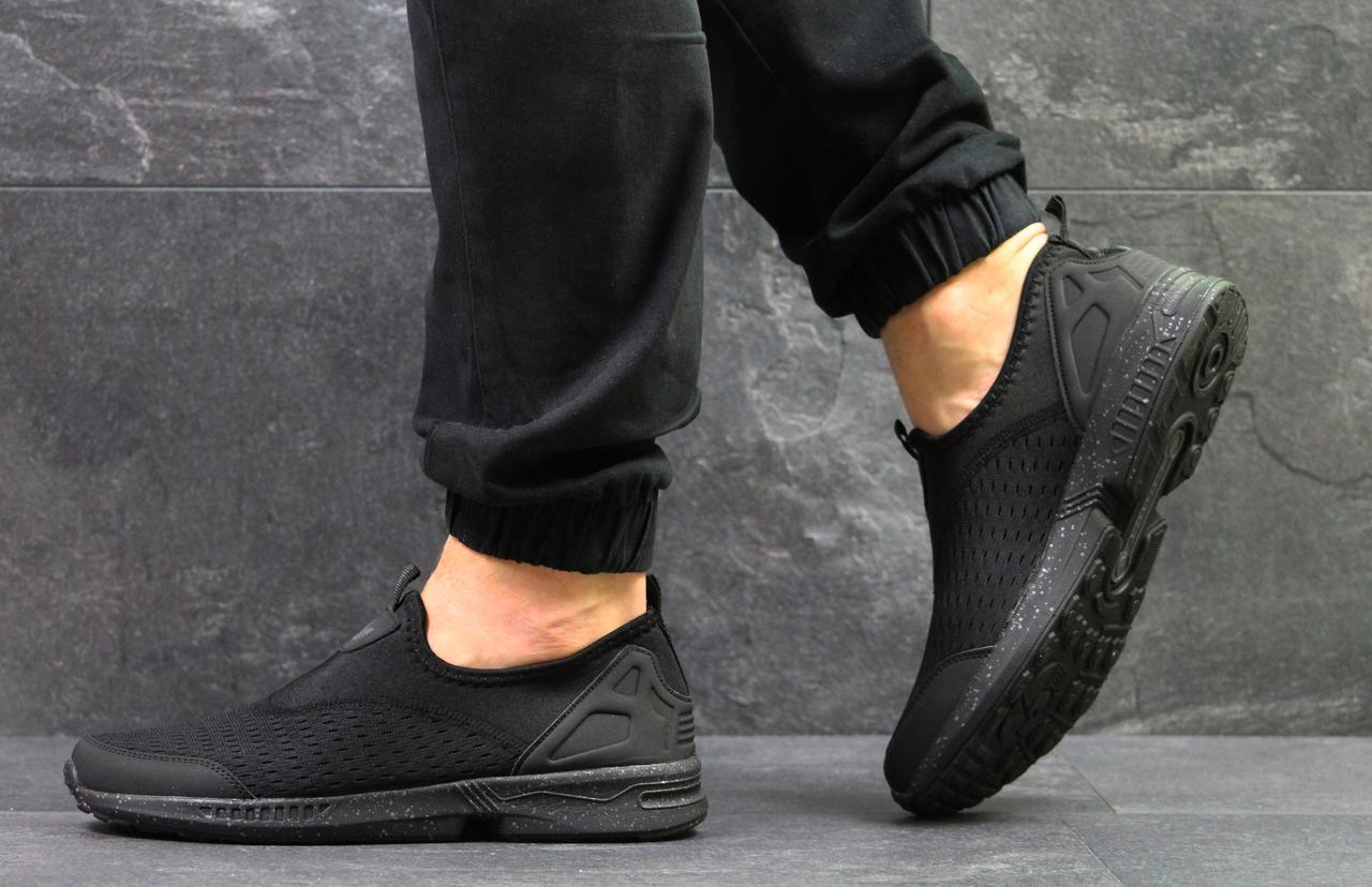 Кроссовки мужские летние Adidas (реплика ) без шнурков черные (сетка), ... 4df33530df8