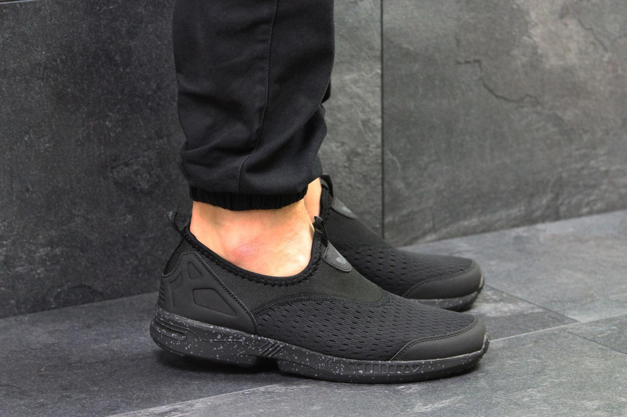 ... Кроссовки мужские летние Adidas (реплика ) без шнурков черные (сетка),  ... 30c2c1a45d3