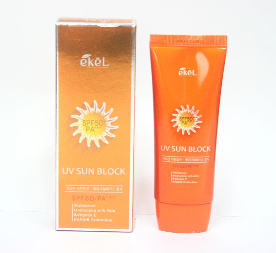 Солнцезащитный крем EKEL Aloe & Vitamin E Sun Block Cream 70ml SPF50 PA+++