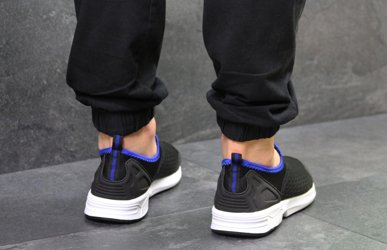 61033c723e00 ... Кроссовки мужские летние Adidas (реплика ) без шнурков черно белые с  синим (сетка) ...