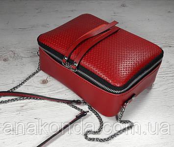 65-2 Натуральная кожа, Сумка женская кросс-боди красная, рогожка
