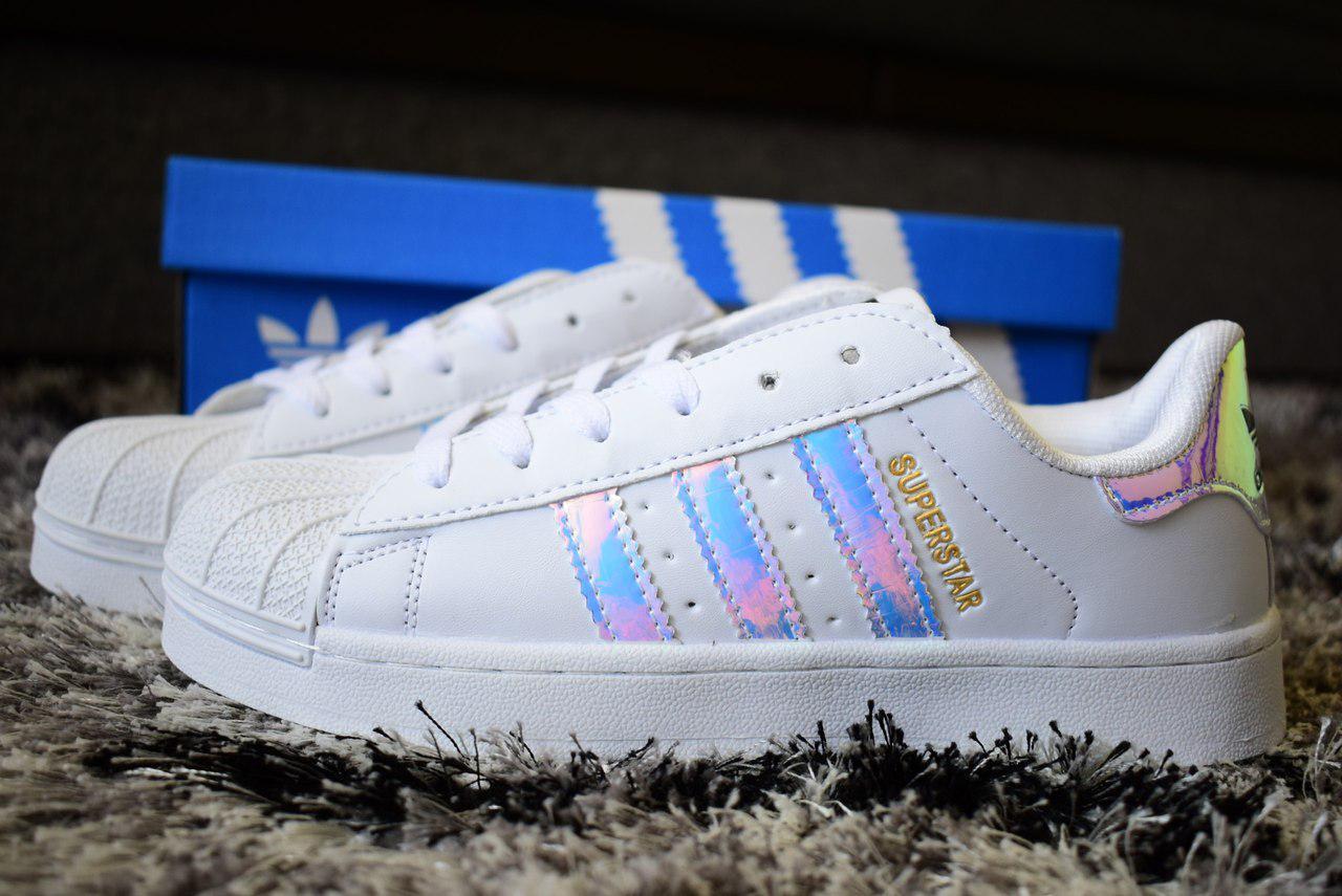 Жіночі кроссовки Adidas Superstar Holographic White 37- 40 размеры -  Интернет - магазин