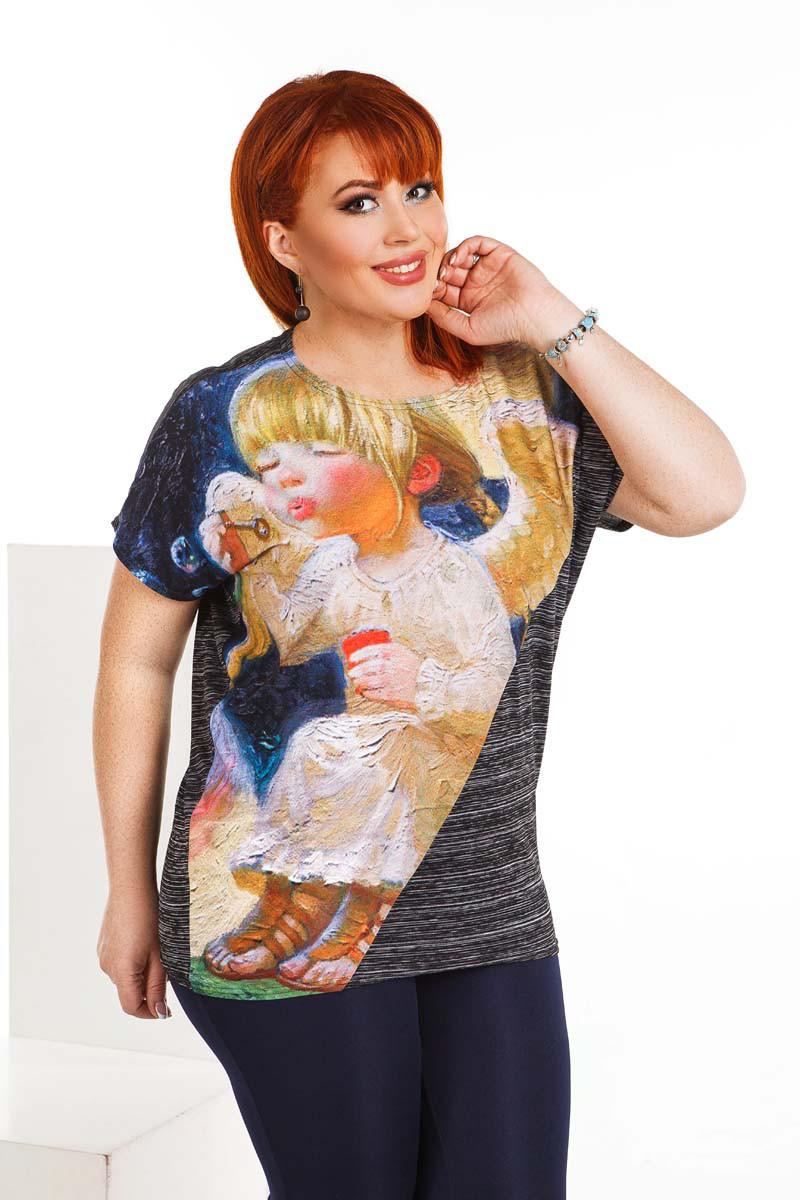 """Летняя женская свободная футболка до больших размеров 4140 """"Ангелочек"""""""