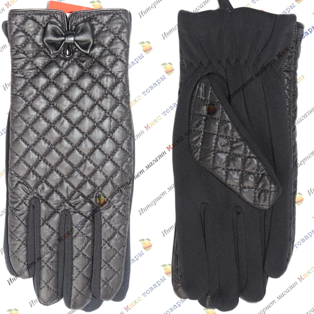 Чёрные Женские перчатки с бантиком