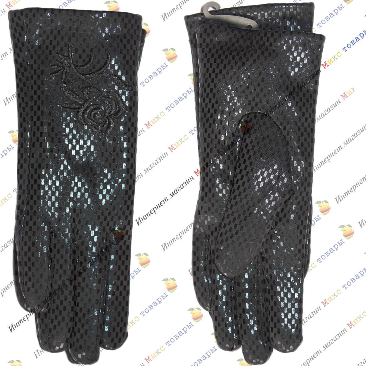 Чёрные женские перчатки с напылением