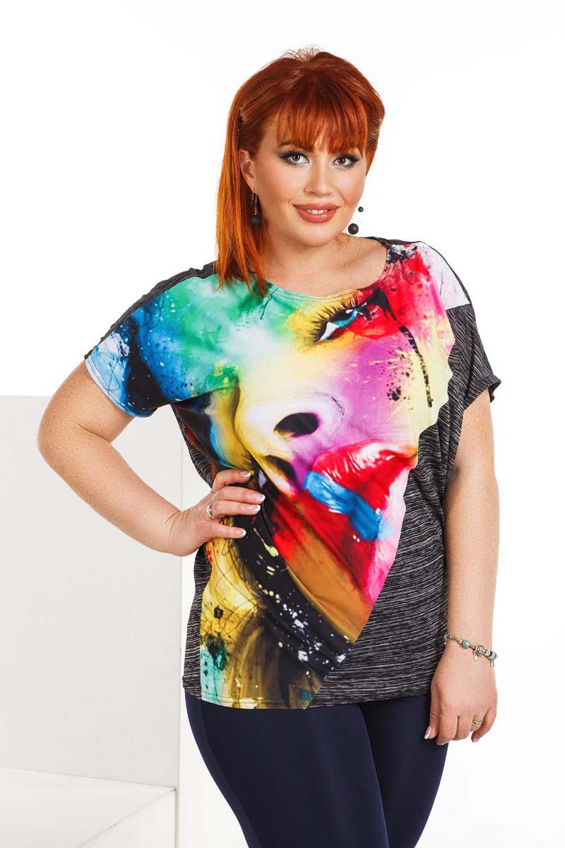 """Летняя женская свободная футболка до больших размеров 4146 """"Лицо"""""""