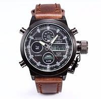 Армейские часы AMST 790 (коричневый кожаный ремень)