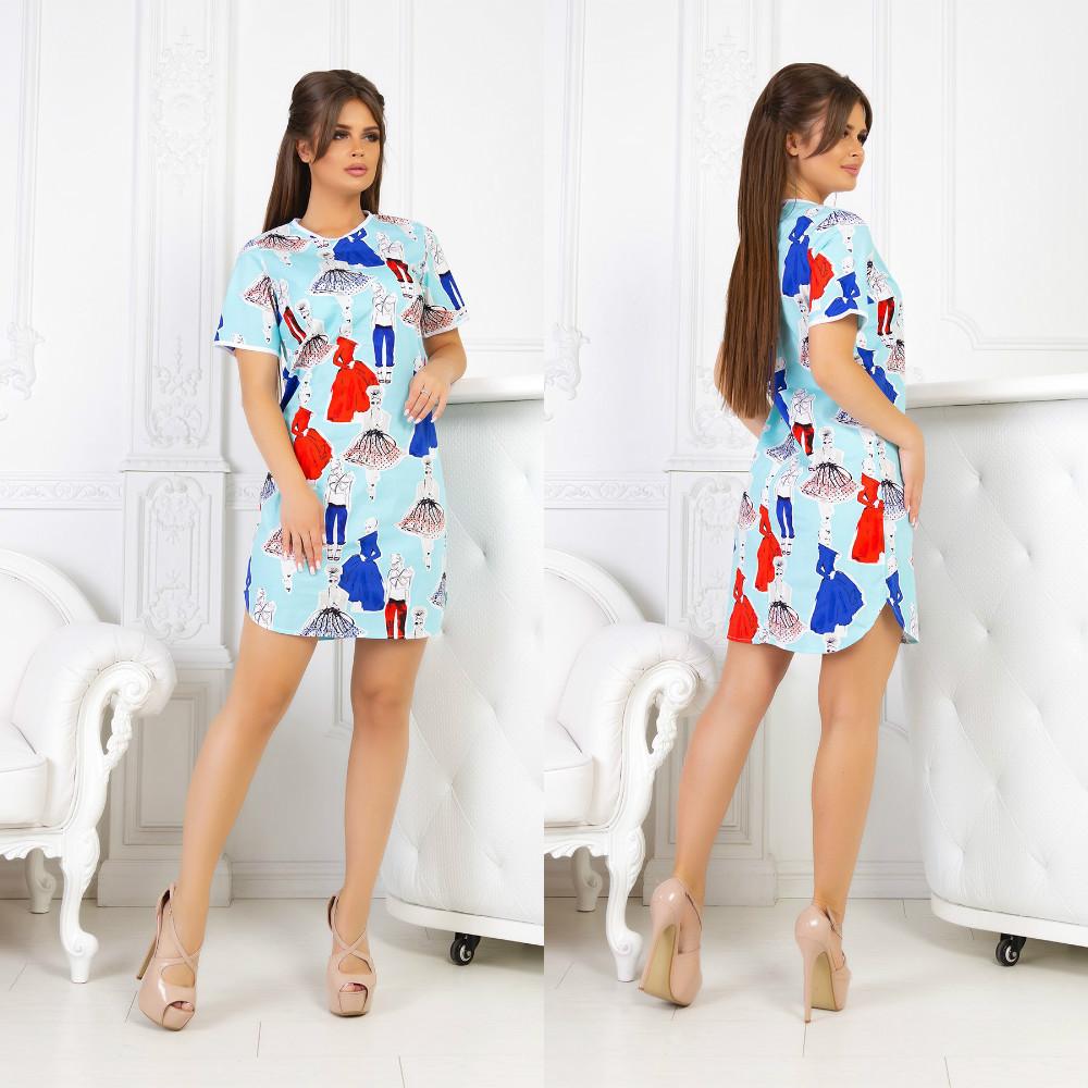 Летнее молодежное платье мини красивым веселым принтом девочек модниц