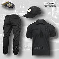 Комплект 3в1 Штаны + Футболка поло + Бейсболка Полиции Украины