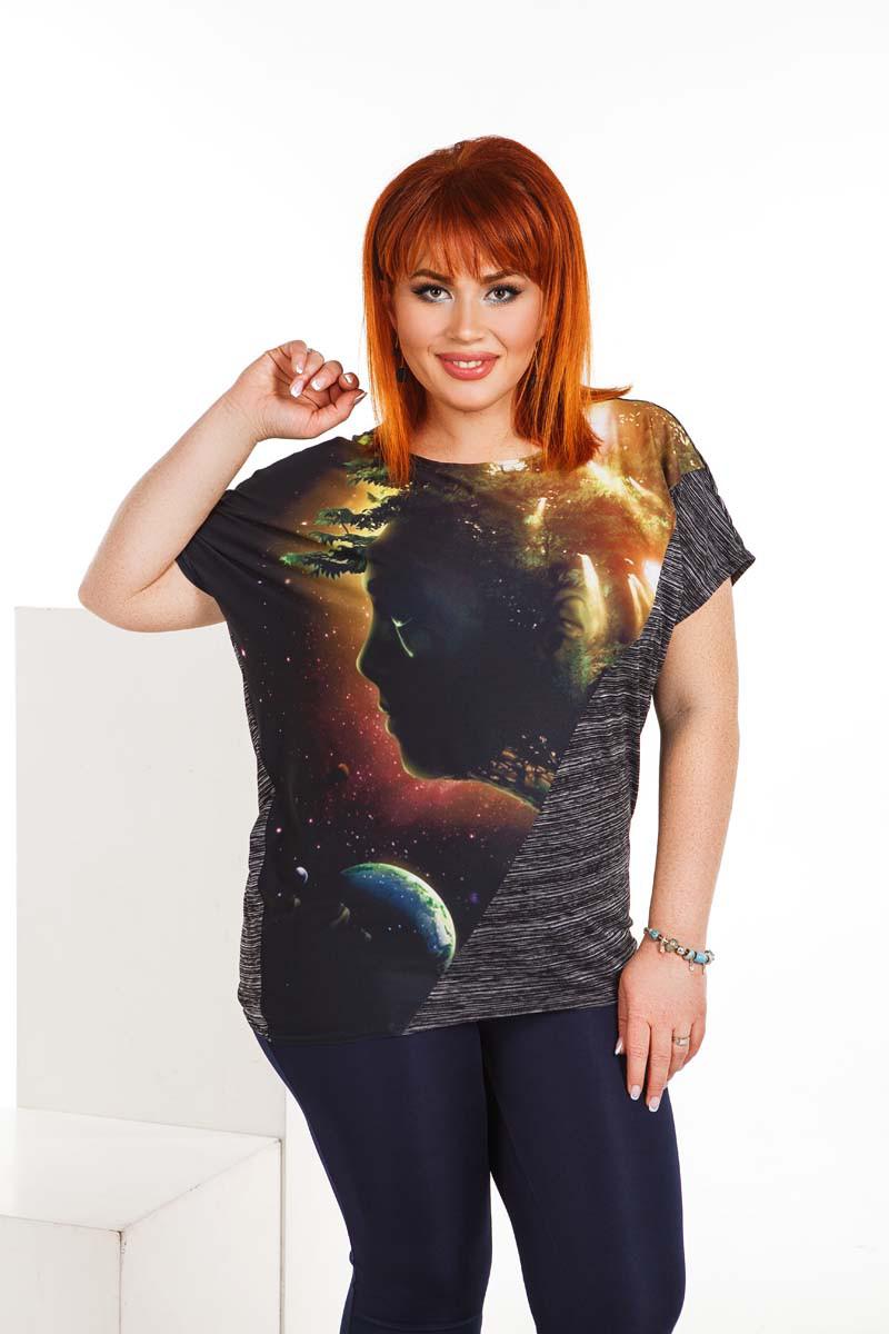 """Летняя женская свободная футболка до больших размеров 4147 """"Космос"""""""