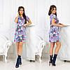 Практичное повседневное платье мини с коротким рукавом и интересными принтами на лето, фото 2