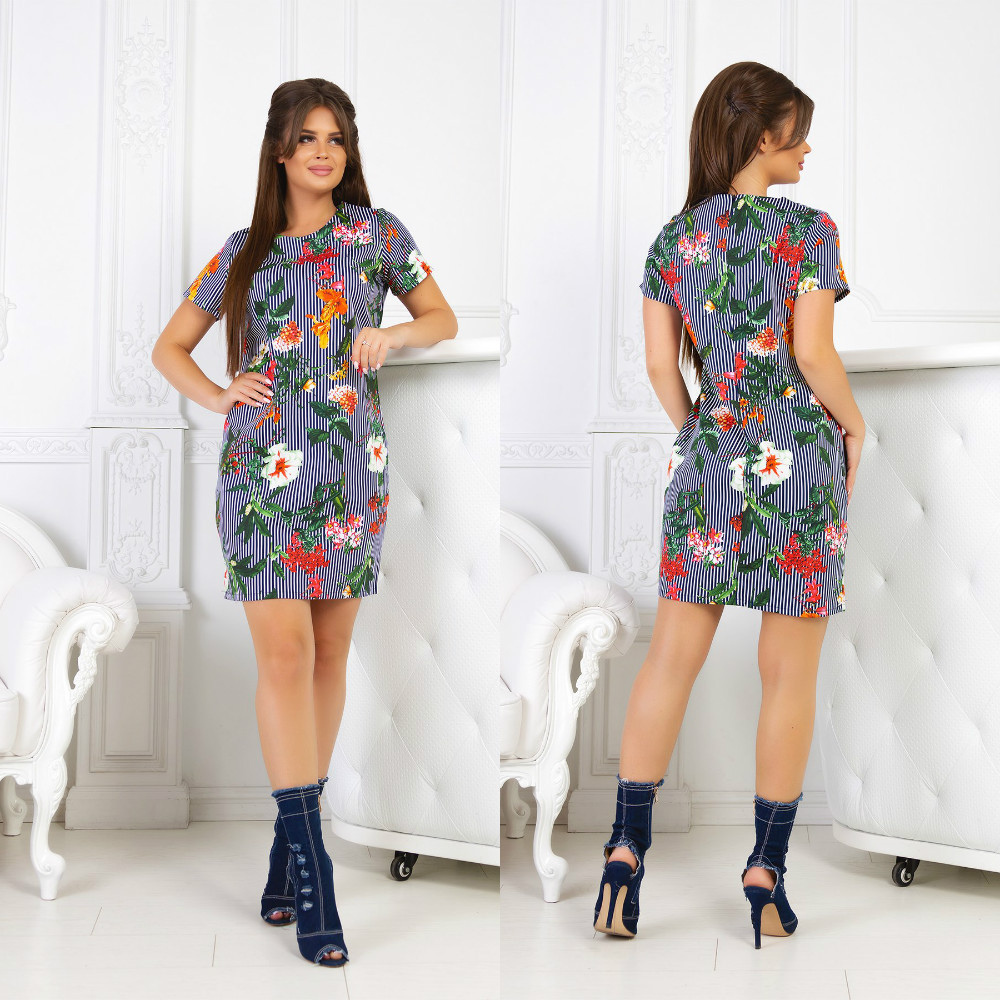 Практичное повседневное платье мини с коротким рукавом и интересными принтами на лето